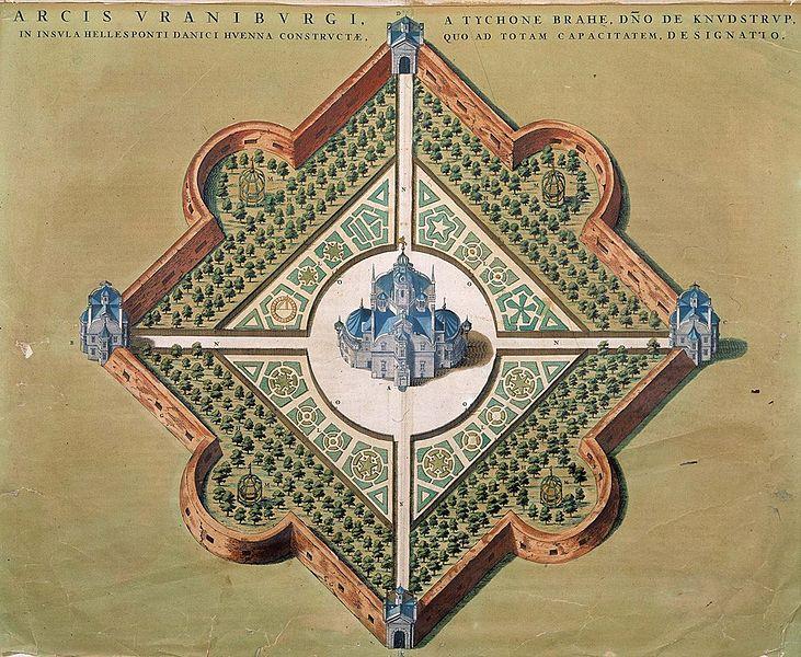 Uraniborg med omgivande trädgård och vallar. Kolorerat gravyttryck från Tycho Brahes Astronomiae instauratae mechanica