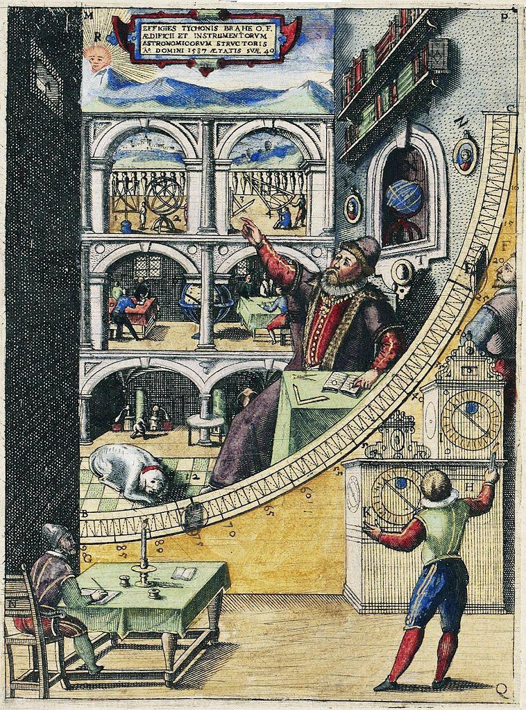 Tycho Brahe vid hans stora Murkvadrant. Gravyrtryck från hans egna bok Astronomiæ instauratæ Mechanica